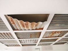 corrugated tin ceiling There were some corrugated metal ceiling panels in the loft This is Corrugated Tin Ceiling, Tin Ceiling Tiles, Metal Ceiling, Ceiling Panels, Corrugated Metal, Galvanized Tin Ceiling, Ceiling Coverings, Galvanized Decor, Ceiling Grid