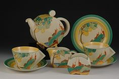 1933 Bonjour-shaped 'Secrets' tea for two by Clarice Cliff, via http://andrew-muir.com/.