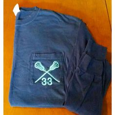 The Initialed Life Lacrosse Comfort Colors Pocket Tee with Number  #lax #preppy