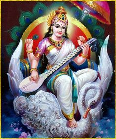"""☀ SARASWATI DEVI ॐ ☀  """"Transcendental knowledge in relation with the Supreme Lord Hari is knowledge resulting in the complete suspension of the waves and whirlpools of the material modes. Such knowledge is self-satisfying due to its being free from material attachment, and being transcendental it is approved by authorities. Who could fail to be attracted?""""~Srimad-Bhagavatam 2.3.12"""