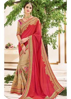 Party Wear Pink & Beige Chiffon Saree  - 2506