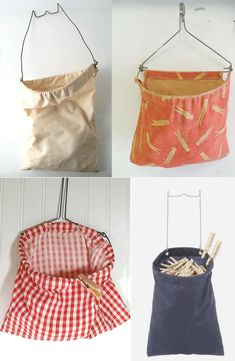 Use vintage clothespin bags as wall planters!