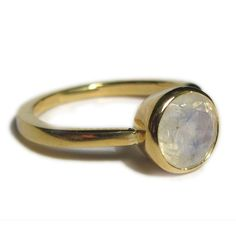 Bling  Faceted Moonstone ring with 18K yellow gold by kalicat, $265.00