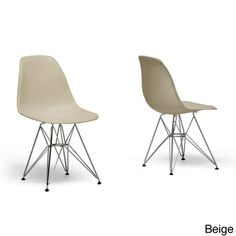 Plastic Mid-Century Modern Shell Chairs (Set of 2) $134 - I could actually see mixing something a little less formal with the West Elm table - this modern classics could be smart in this soft color...kid-friendly - just Windex them down!