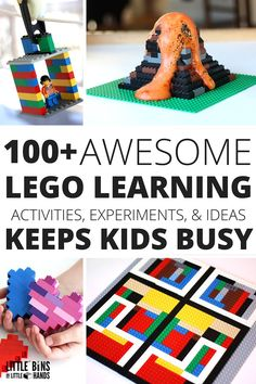 Our best kids LEGO activities and STEM challenges. There is so much you can do with a LEGO. Looking for cool LEGO building ideas? We have tons Lego Math, Lego Craft, Lego Duplo, Lego Club, Kids Learning Activities, Stem Activities, Lego Letters, Legos, Lego Books