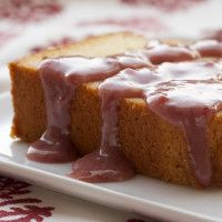 Cream Cheese Pound Cake with Strawberry-White Chocolate Sauce offers a great twist on traditional pound cake and a simple sweet sauce to top it off! - Bake or Break