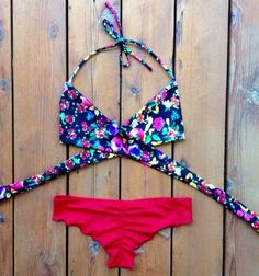Floral Criss Cross Bikini Top Runched Swimsuit Bottoms Mix & Match