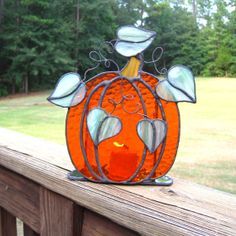 Pumpkin Stained Glass Candle Holder
