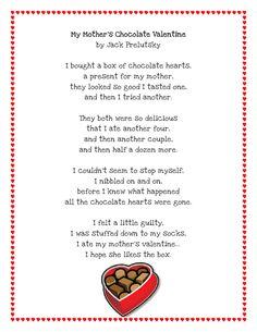 Literacy Minute: Valentine Poem Printable. Free! Funny poem.