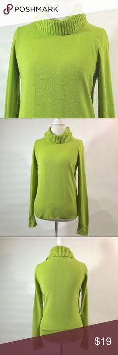 Josephine Chaus chartreuse turtleneck size medium Soft and comfortable. Great pop of color for neutral bottoms. Colors may vary slightly to lighting and photos. Minor wear. No holes, rips or stains. Measurements approximately as shown. ❌Smoke and pet free home. ⚡️Same/next day shipping. 💲Save by bundling or make a reasonable offer through the offer button. 🚫No holds, trades or modeling. 📦Wrapped and shipped with care. josephine chaus Sweaters Cowl & Turtlenecks