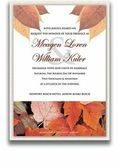 75 Rectangular Wedding Invitations - Autumn Cloud by WeddingPaperMasters.com. $206.25. Now you can have it all! We have created, at incredible prices & outstanding quality, more than 300 gorgeous collections consisting of over 6000 beautiful pieces that are perfectly coordinated together to capture your vision without compromise. No more mixing and matching or having to compromise your look. We can provide you with one piece or an entire collection in a one stop shopping experie...