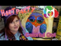▶ Colorful Owl painting lesson for beginners a fun online easy how to tutorial Hart Party - YouTube