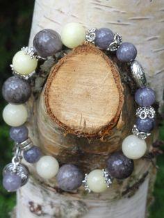 Biżuteria - jadeity kamienne, pastelowe, szare, w stylu bali