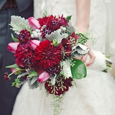 Dark Red Bridal Bouquet // The Nichols Photography // Bouquets Of Austin // http://www.theknot.com/weddings/album/a-rustic-celtic-wedding-in-austin-tx-137078