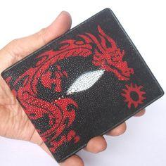 100 % Genuine Stingray Leather Bifold Men's Wallet with Beautiful Dragon