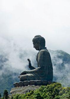 Buddha's: Large Stone Buddha Statue Surrounded By Fog Covered Mountains Lotus Buddha, Art Buddha, Buddha Zen, Buddha Wisdom, Buddha Statues, Amitabha Buddha, Gautama Buddha, Wuxi, Shel Silverstein