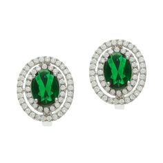 Sterling Silver Simulated Emerald and Cubic Zirconia Stud Earrings