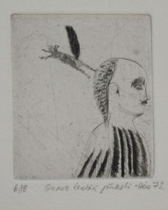 Outi Heiskanen / 1972 / Orava lentää päästä / kuivaneula Ars Longa Oy, taidekehystämö Vedos 15/18 (v.72) Laattakoko: 7cmx6cm Vedos 150€, Kehystettynä 210€