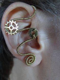 Steampunk wire wrapped ear cuff II by Hiddendemon-666.deviantart.com