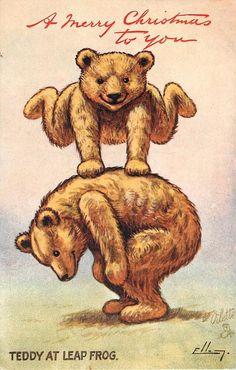 Vintage Teddy Bear Christmas Postcard.