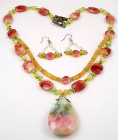 Sandra Lee created this pink and peach Jade necklace set for our Rose of Sharon Jewelry collection.