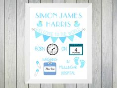 Welcome to the World Baby Girl - Framed Personalised Print to commerate the birth of a baby. Personalised with name of baby date and time of birth, weight at birth and hospita