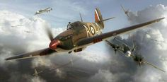 """Hawker Hurricane Mk1 Airfix box artwork by Adam Tooby - FLt Lt Ian 'Widge' Gleed - On the 15th of August Gleed was flying as Red 1 and when they found the German formations T. Mitchel said over the R/T """"Green 1 to Red 1- there they are straight ahead, there's hundreds of them""""   Gleed replied """" Red leader here, OK I've got them let's surround the Bastards.""""   In the ensuing fight Gleed destroyed 2 Messerschmitt fighters and possibly a third."""