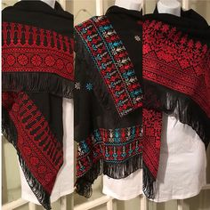 Beautiful black Shawl / puncho / poncho with detailed red Palestinian cross stitch / embroidery. The embroidery on this shawl is machine stitched Please contact me for more details and shipping options Cross Stitch Art, Cross Stitch Designs, Cross Stitch Embroidery, Chiffon Jacket, Palestinian Embroidery, Cross Stitch Pictures, Folk Fashion, Abaya Fashion, Mode Hijab