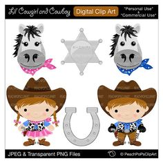cowboy clip art digital clipart sheriff badge horse pink blue - Lil Cowgirl and Cowboy - Digital Clip Art - Personal Commercial Use on Etsy, $5.00