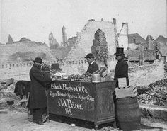 Setting up shop amid the ruins of the fire, c.1871, Chicago. Mark Reiner, ‎Living History of Illinois and Chicago