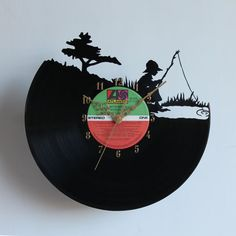 Handcarved Fisherboy Vinyl Record Clock retro by TikalTextiles