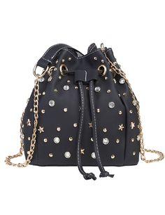 Rhinestone And Star Embellished Stud Drawstring Bucket Shoulder Bag
