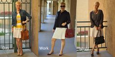 """My Purpose: Today I was inspired by a simple white tank t-shirt dress. I want to show you how you can use this simple summer throw over your bathing suit dress from day to night. The casual look I threw on a sweater, large belt and denim jacket and a cute neutral pump. Then for work add a navy swing coat, with a red slingback low heel.  Then for a fun date night I added a gray sheer swing top with a skinny belt and my leopard print heels. Choose everyday to """"Dress With Purpose"""""""