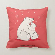 Baby Club, Red Christmas, Custom Pillows, Polar Bear, Throw Pillows, Make It Yourself, Knitting, Cute, Design