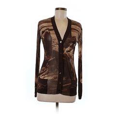 Pre-owned Jean Paul Gaultier Cardigan Size 8: Brown Women's Sweaters &... (280 BRL) ❤ liked on Polyvore featuring tops, brown, jean paul gaultier top, brown tops and jean-paul gaultier