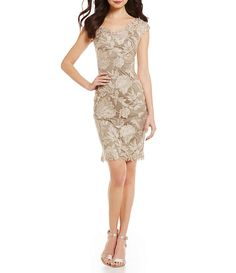 Tadashi Shoji Scalloped Lace Off-the-Shoulder Sheath Dress Dress Up Dolls, I Dress, Sheath Dress, Metallic Cocktail Dresses, Womens Cocktail Dresses, Mob Dresses, Short Dresses, Bridesmaid Dresses, Scalloped Lace