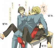 Shizuo x (or -) Izaya, with Shinra watching them fight (Durarara!)