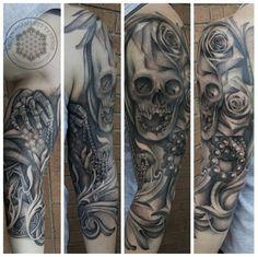 """Life love and death sleeve by me, Logan Bramlett, Wanderlust Tattoo Society Akron Ohio Beautiful Tattoos, Cool Tattoos, Awesome Tattoos, Akron Ohio, Realism Tattoo, Tattoos Gallery, Short Hairstyles For Women, Logan, Black And Grey"