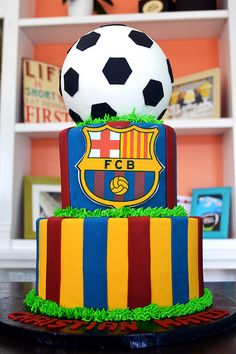 Barca / Barcelona FBC Soccer Cake By Simply Sweet Creations (www.simplysweetonline.com)
