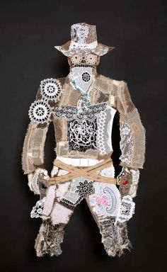 Lisa Kokin | Cowboy #3 | Lace Cowboys | Fabric Collage