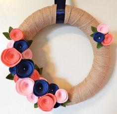 Felt Roses Wreath-Felt Flower Wreath-Summer by TheBeautifulDoor
