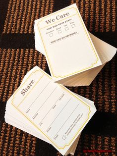 We Care Cards by SmartGuests.com, can put these in the guest room so that before they leave you can have a simple feedback that will help your reviews stay positive.