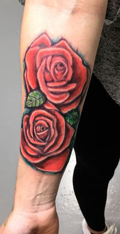 Two Red Rose no outline. #roses #armtattoo #tattoo #flower #tattoogirls #inked