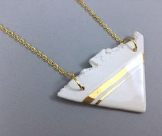 22k gold Pendant statement boho long necklace contemporary gift for her , Minimalist  Necklace Ceramic Triangle Necklace