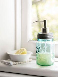 Mason Jar Soap Dispener  lovely idea =)