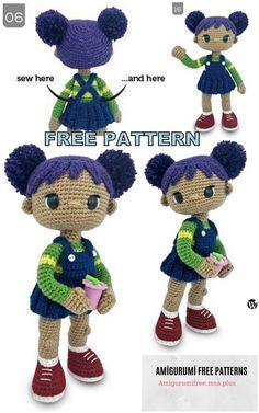 Amigurumi Doll Violet Free Crochet Pattern Amigurumi Doll Violet F. Amigurumi Doll V Doll Amigurumi Free Pattern, Crochet Amigurumi Free Patterns, Crochet Doll Pattern, Amigurumi Doll, Free Crochet, Free Knitting, Crochet Crafts, Crochet Toys, Crochet Doilies