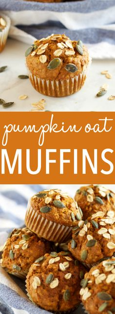 These Healthy Pumpkin Oat Muffins are low in fat and sugar, but they're so moist and flavorful because they're packed with pumpkin and applesauce! Pumpkin Recipes, Fall Recipes, Applesauce Recipes, Pumpkin Oatmeal Muffins, Pumpkin Granola, Baked Oatmeal, Healthy Muffins, Healthy Snacks, Healthy Eats