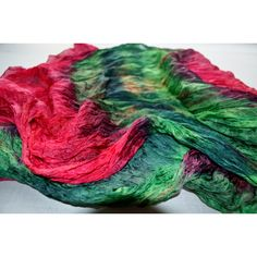 scarf hand painted red green scarf silk, hand painting scaf red green... ($40) via Polyvore featuring accessories and scarves