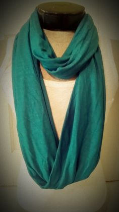Teal jersey knit infinity scarf by MsFiggys on Etsy, $20.00