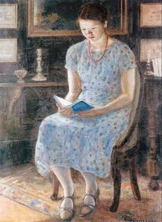 """Blue girl reading"" by Frederick Carl Frieseke (1874-1939)"
